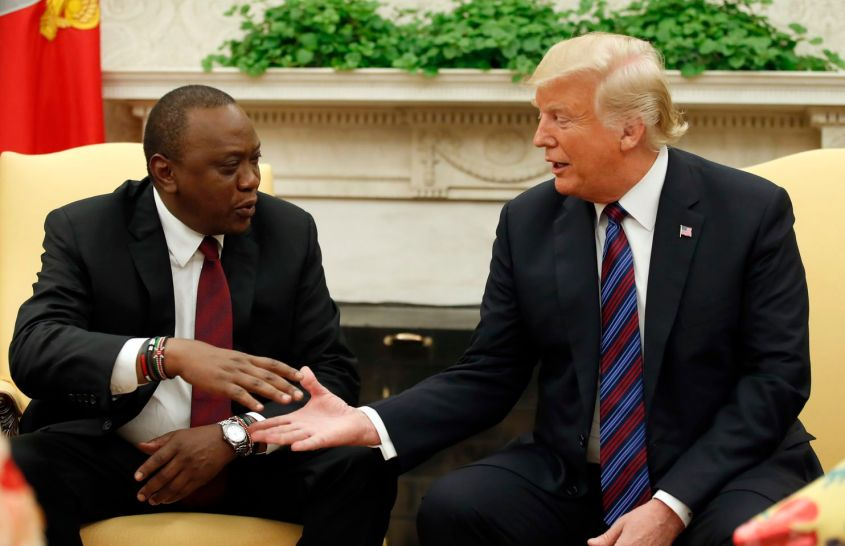 President Donald Trump shakes hands with Kenyan President Uhuru Kenyatta in the Oval Office of the White House, Monday, Aug. 27, 2018, in Washington. (Alex Brandon/Associated Press)