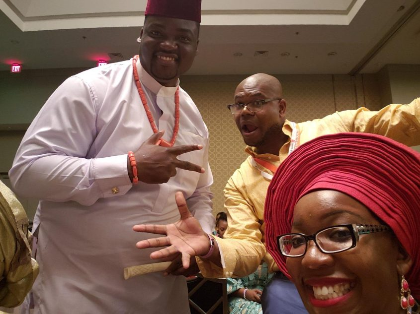 Faux Nigerian Jason Johnson, center, with actual Nigerians Obinna Nwokike, left, and Nkechi Nneji. Photo: Jason Johnson